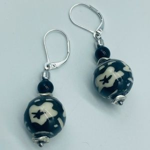NEW Gorgeous Painted-Ceramics Drop Earrings